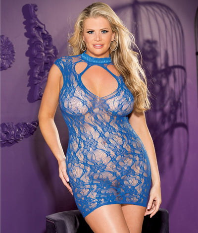 Plus Size Stretch Lace Chemise in Royal Blue