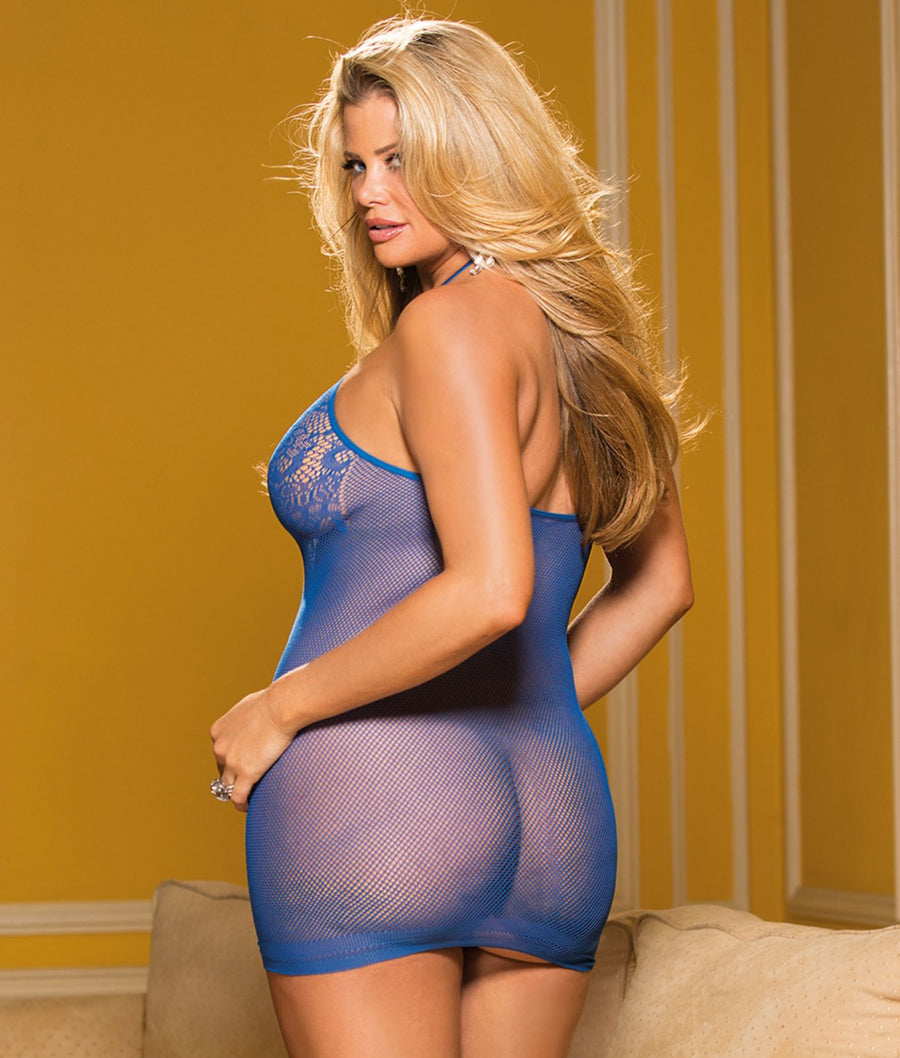 Royal Blue||Plus Size Micro Net Chemise in Royal Blue