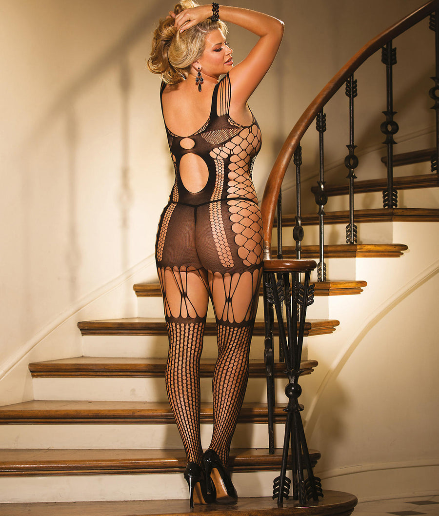 Black||Plus Size Chemise Garter Bodystocking Set in Black
