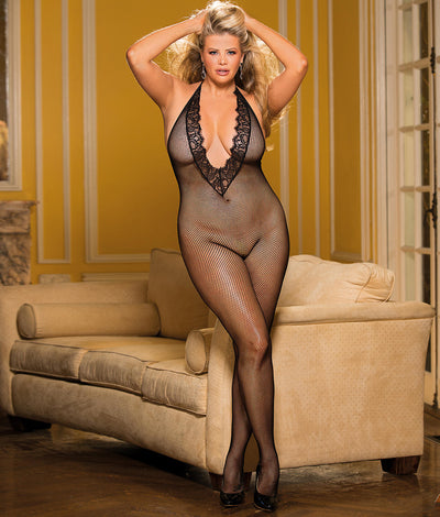 Plus SizeDeep Plunge Crotchless Bodystocking in Black