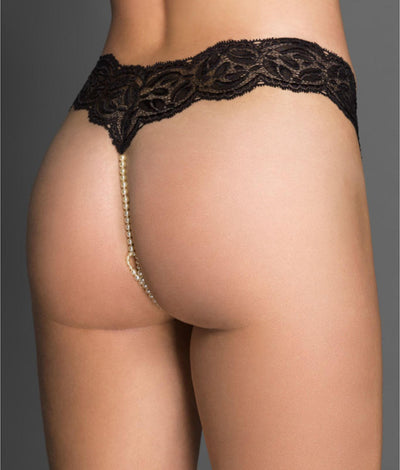 Paris Collection Double Strand Pearl Thong in Black