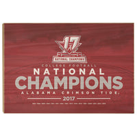 Alabama Crimson Tide - 2017 National Champions - College Football Wood Wall Art