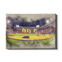LSU Tigers Tiger Stadium䋢 Watercolor canvas