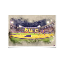 LSU Tigers Tiger Stadium䋢 Watercolor photo print