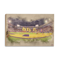 LSU Tigers Tiger Stadium䋢 Watercolor wood art