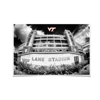Virginia Tech Hokies Lane Stadium Black & White Photo Print