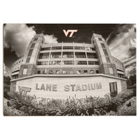 Virginia Tech Hokies Lane Stadium Black & White Wood Art