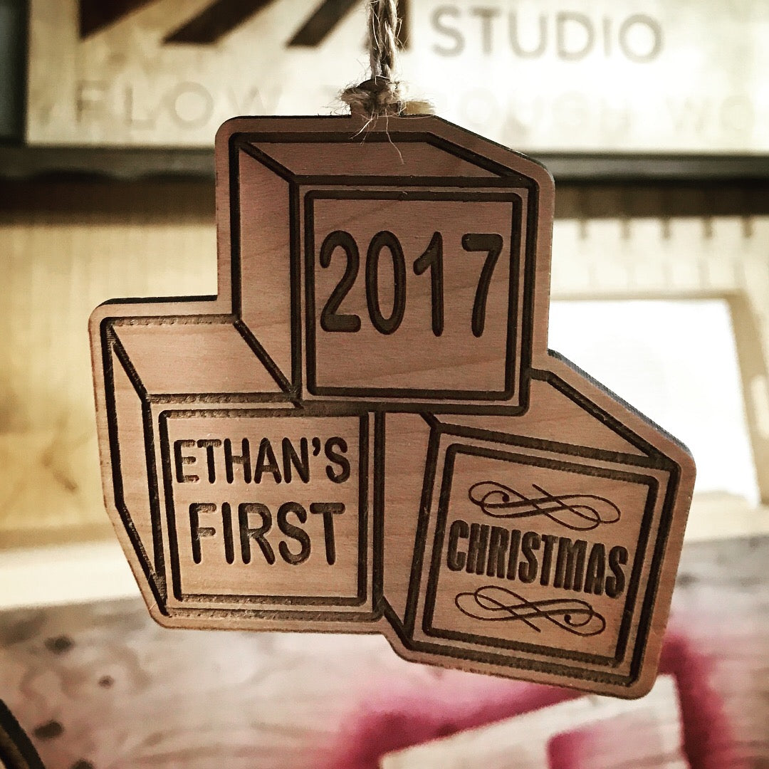 Personalized Laser Cut Christmas Ornament - Baby's first Christmas