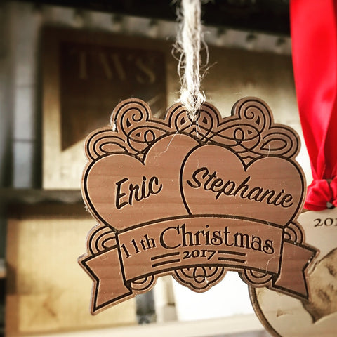 Personalized Laser Cut Christmas Ornament - For your favorite couple!