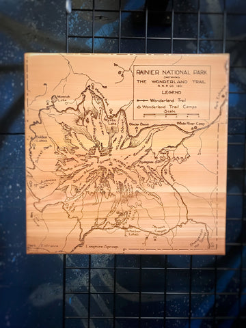 Laser etched map of Rainier National Park