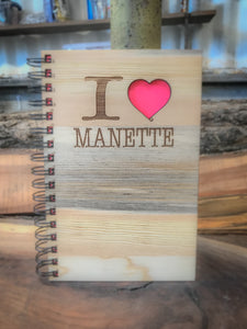 I Love Manette Handcrafted Wood Journal