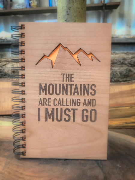 The Mountains are Calling Handcrafted Wood Journal
