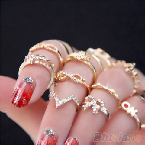 1 Set 7 pcs Rhinestone Bowknot Knuckle Midi Mid Finger Tip Stacking Rings - East Gold