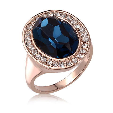 Gold Color Luxury Exaggerated Blue Crystal Ring   East Gold
