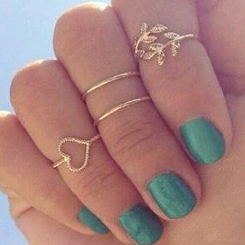 4 Set Rings Urban Gold Plated Crystal Plain Cute Above Knuckle Ring - East Gold