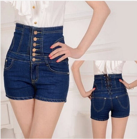 Cowboy Style High Waist Slim Hip Jeans Shorts - East Gold
