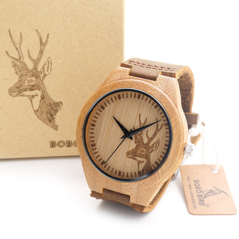 BOBO BIRD Top brand Men's Bamboo Wooden Bamboo Watch Quartz Real Leather Strap Men Watches With Gift Box - East Gold
