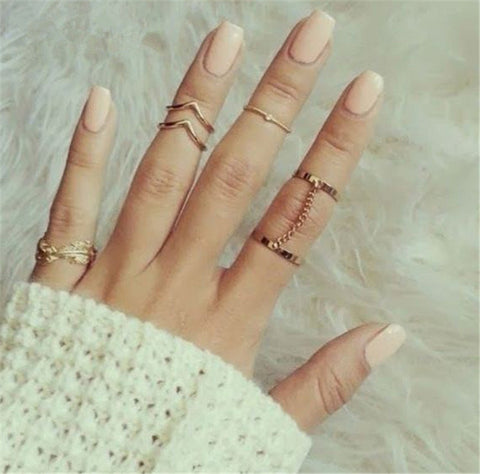 6pcs /lot Shiny Punk style Gold plated Stacking midi Finger Knuckle Rings - East Gold