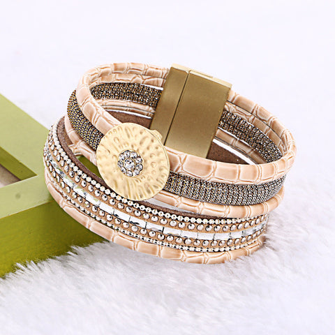 Bamboo Leather Round Buckle Rhinestone Wide Magnetic Bracelets - East Gold
