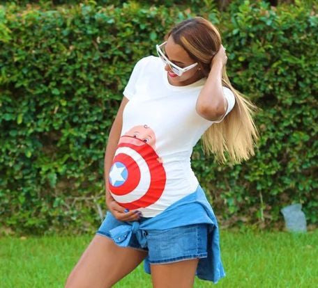 Captain America Printed Maternity Tops - East Gold