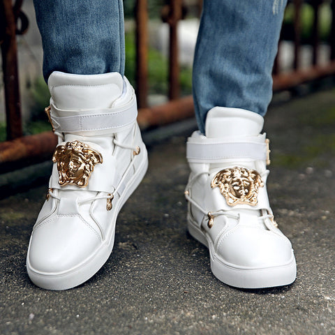 Designer High Top Casual Metal Head Shoes - East Gold