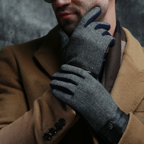 Classic  Belt Buttons Soft Lining Touch Screen Gloves - East Gold