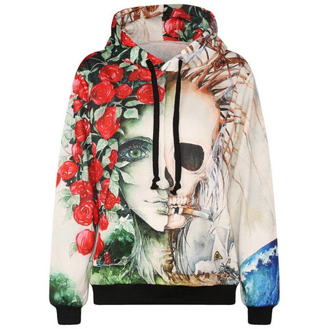Flower Print 3D Rose Smoking Skulls Hooded Hoody - East Gold