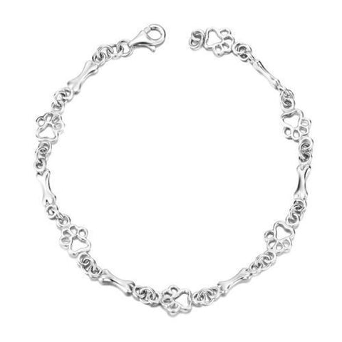 Dog Theme Silver Bone Link Chain Bangle Bracelet - East Gold