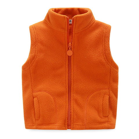 Fleece Solid Thickening Warm Vest With Zipper - East Gold