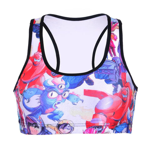 Cartoon Super Corps Digital Printing Sports Bra - East Gold