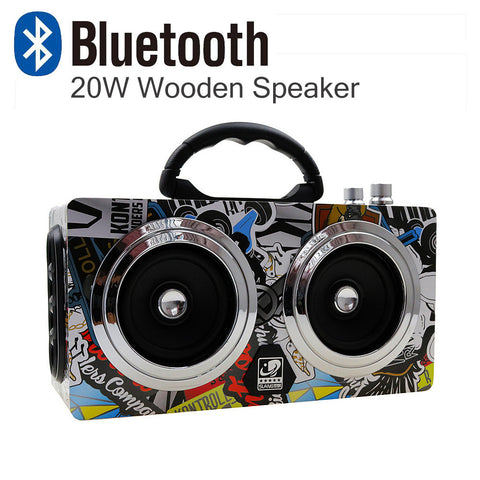 20W Wooden High Power Outdoor Bluetooth Speaker Wireless Stereo Super Bass Subwoofer Dancing Loudspeaker with fm radio sound car - East Gold