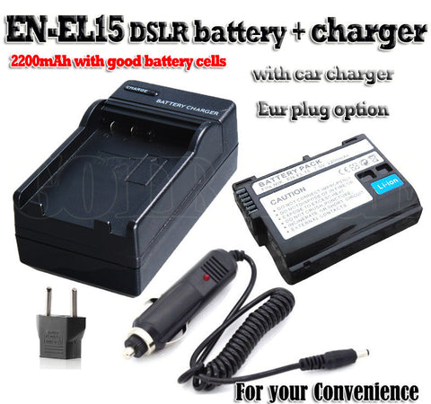 2200mAh EN EL15 EN-EL15 baterie ENEL15 Battery + Charger+Car charger KIT For Nikon D750 D7000 D7100 V1 D600 D610 D800 D800E D810 - East Gold