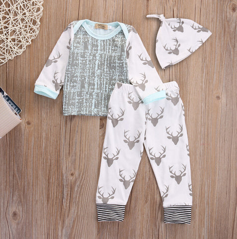 3Pcs Casual Newborn Baby Clothing Sets - East Gold
