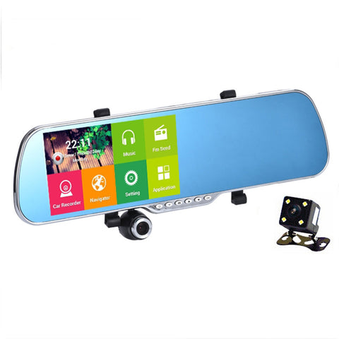 "5.0"" IPS Touch Android 4.4 FHD1080P Dash Camera Parking Car Dvrs Rearview Mirror Video Recorder Car DVR Dual Camera GPS+Free map - East Gold"