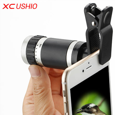 8x Zoom Mobile Monocular Telescope Camera Lens Night Vision Mini Universal Optical Clip Telephoto Black for Phone Accessories - East Gold