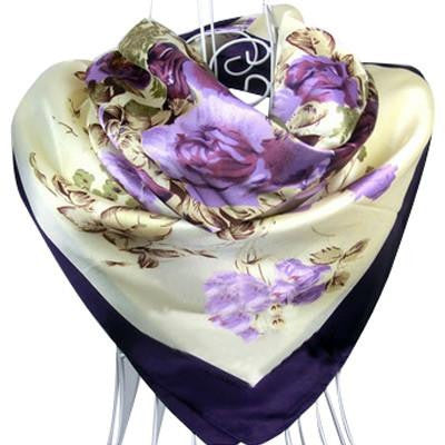 Purple Flower Print oil painting square silk scarf - East Gold