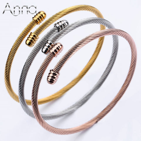 3PCS/Lot Gold/Rose Gold/Silver Bangles Bracelets Opened Cuff - East Gold