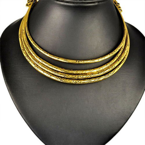 Magnetic clasp gold silver plated choker statement necklace   East Gold