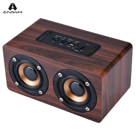 Retro Wood Wireless Bluetooth Speaker Portable Speaker bluetooth altavoz Mini 3D Dual Loudspeakers USB Charging enceinte - East Gold