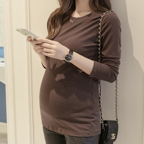 Gestante Solid Soft Long Sleeve Pregnancy Tees - East Gold