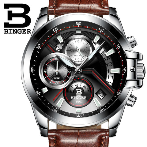 BINGER Luxury Auto Date Watch Men Water Resistant Steel Men Watch Fashion Dress Business Design Leather Winner Quartz-Watch - East Gold