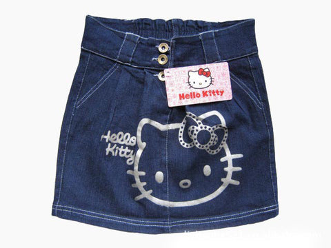 Denim Hello Kitty Button Waist Pockets Skirts - East Gold