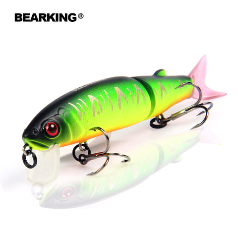 Bearking 2016good fishing lure minnow quality professional bait 11.3cm 13.7g swim bait jointed bait equipped black or white hook - East Gold