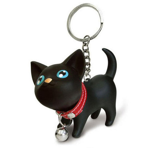Black Cat Kitten Keychain Keyring Bell Toy Lover Key Chain Rings For Handbag Delicate - East Gold