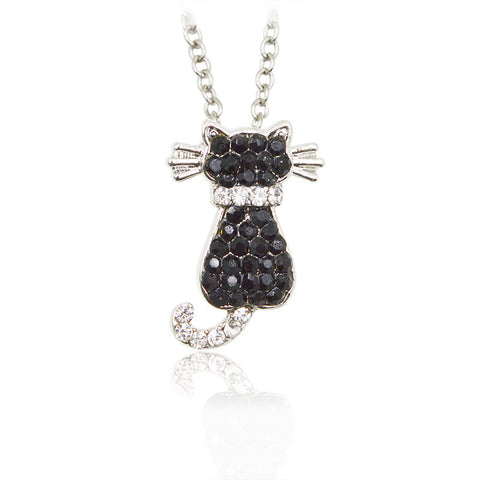 Black Rhinestone Cute Animal Pendant Necklace Panda Dog Puppy Cat Kitten Monkey Frog Penguin Special Gift Dog Lovers Pet Jewelry - East Gold