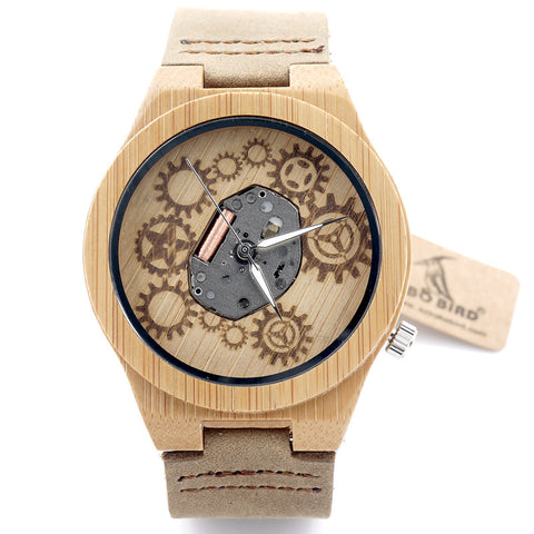 Bobo Bird Exposed Movement Design retro genuine leather Wooden Bamboo men watch Skeleton Watch Relogio Masculino relojes B09 - East Gold