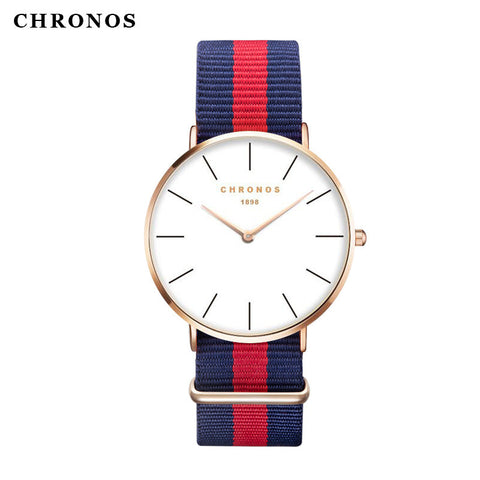 Brand CHRONOS Watches Men Women Fashion Casual Sport Clock Classical Nylon Male Quartz Wrist Watch Relogio Masculino Feminino - East Gold