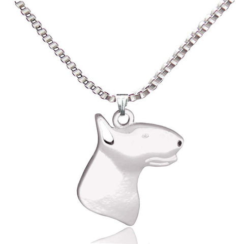 Bull Terrier Dog Pendant Necklaces Silver Plated Animal Handmade - East Gold