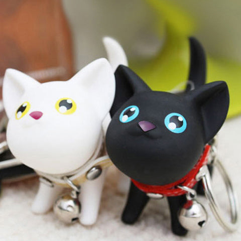 Cartoon Fashion Cat Kitten Keychain Keyring Bell Toy Lover Key Chain Rings For Handbag 88 KQS - East Gold