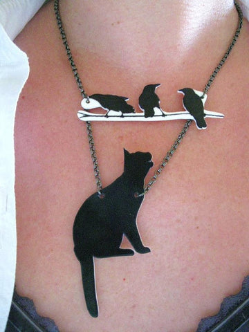 Cat and Birds Jewelry Statement Animal Necklace   East Gold